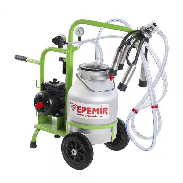 Aparat de muls vaci VEPEMIR 1 post si 1 bidon Aluminiu 25 litri ECO GREEN