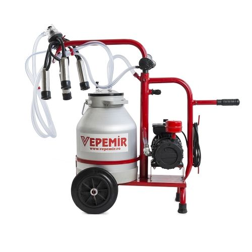 Aparat de muls vaci VEPEMIR 1 post si 1 bidon Aluminiu 40 litri ECO RED