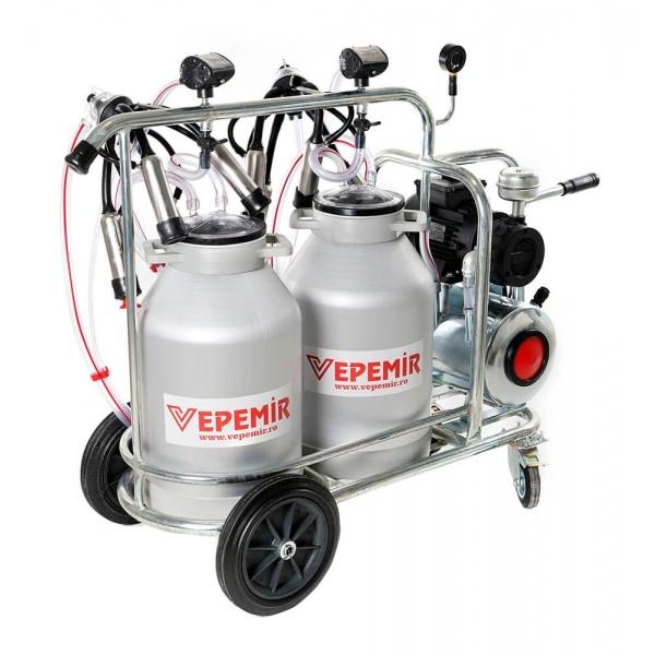 Aparat de muls vaci VEPEMIR 2 posturi si 2 bidoane Aluminiu 40 litri