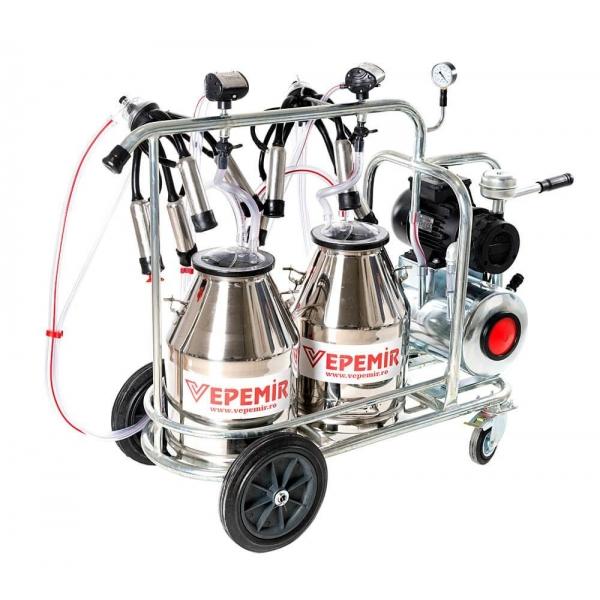 Aparat de muls vaci VEPEMIR 2 posturi si 2 bidoane Inox 40 litri