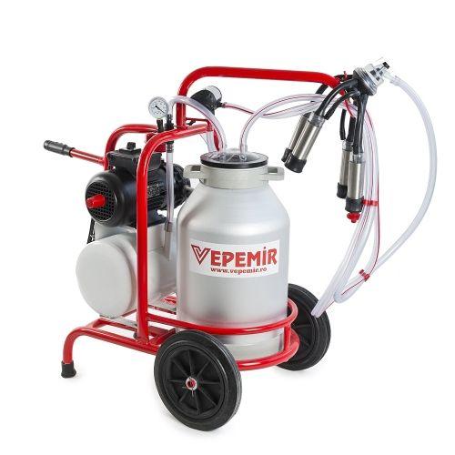 Aparat de muls vaci VEPEMIR 1 post si 1 bidon Aluminiu 40 litri RED