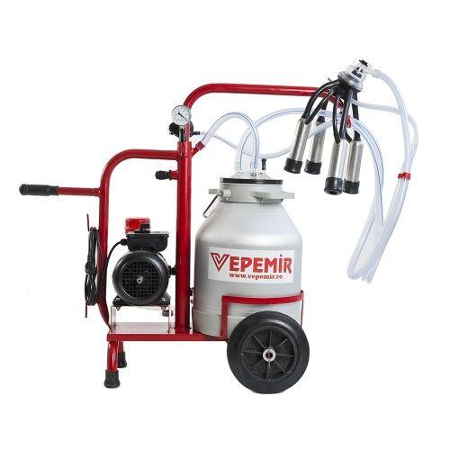 Aparat de muls vaci VEPEMIR 1 post si 1 bidon Aluminiu 20 litri ECO RED 2