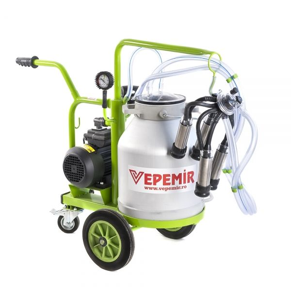 Aparat de muls vaci VEPEMIR 1 post si 1 bidon Aluminiu 20 litri ECO GREEN W