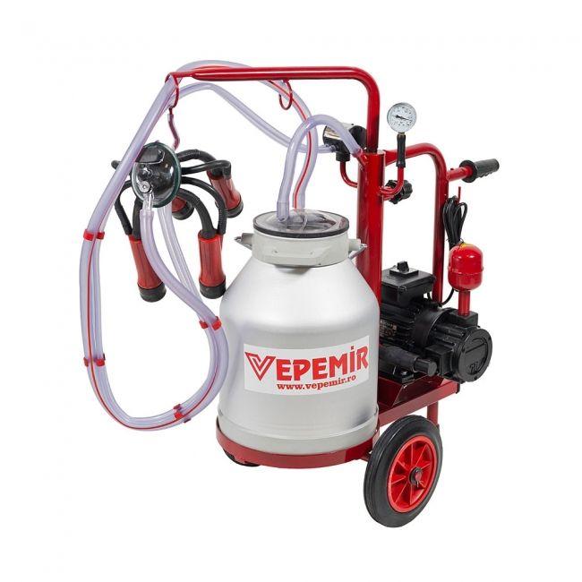 Aparat de muls vaci VEPEMIR 1 post si 1 bidon Aluminiu 20 litri ECO RED M